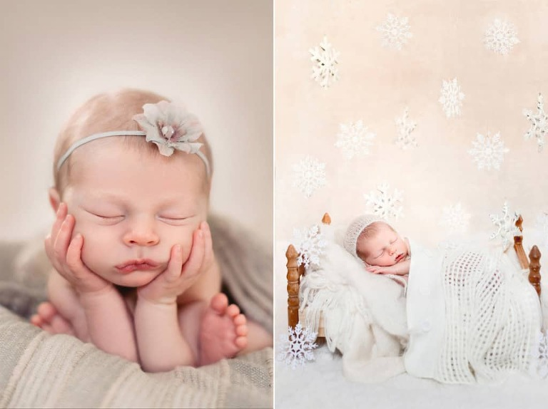 Froggy newborn pose winter themed newborn photo