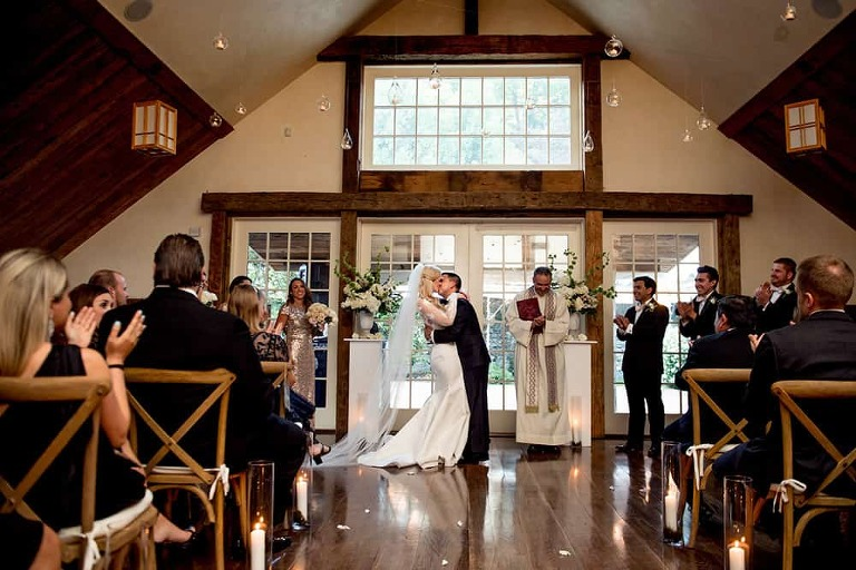 First Kiss At Candlelit Bedford Post Inn Ceremony In Yoga Loft